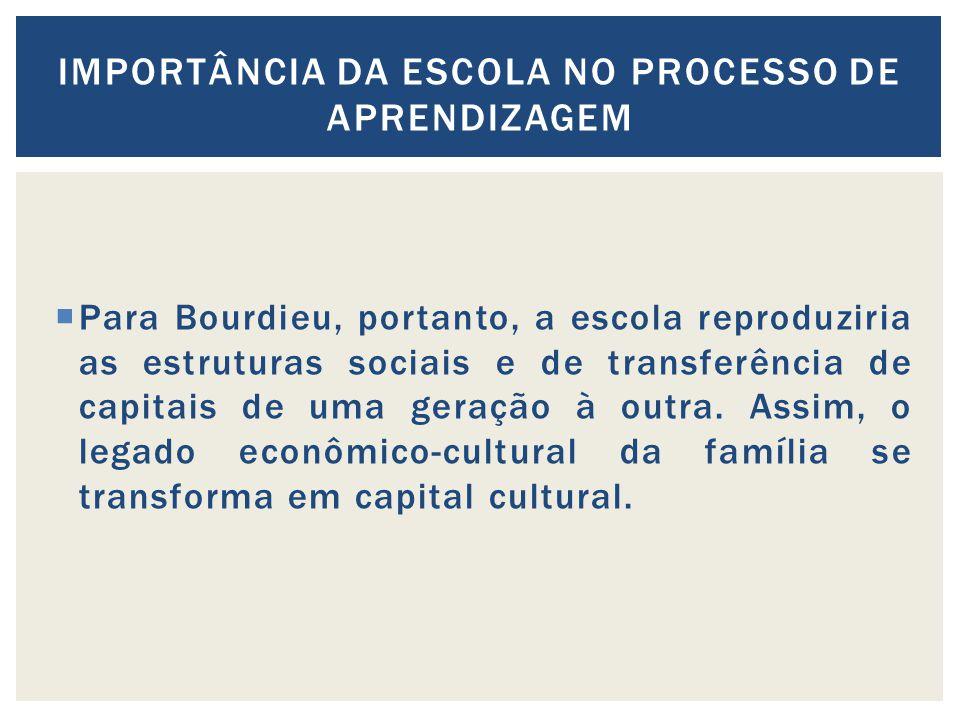 Para Bourdieu, portanto, a escola reproduziria as estruturas sociais e de transferência de capitais de uma geração à outra. Assim, o legado econômico-