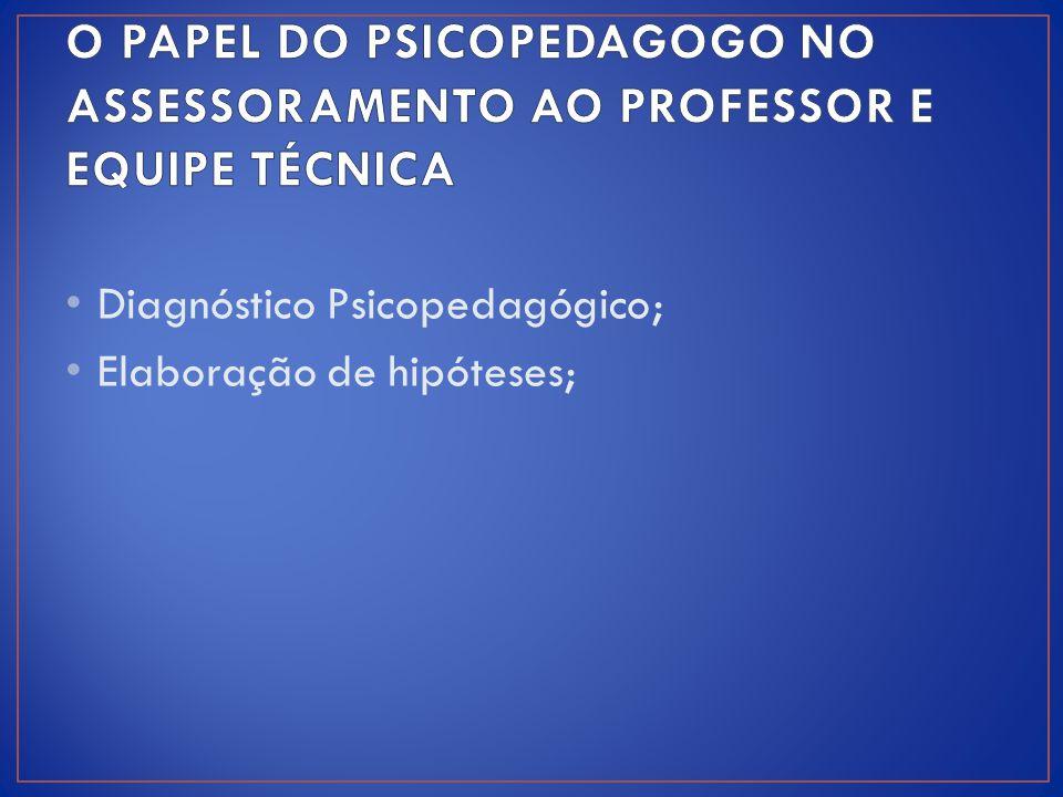Diagnóstico Psicopedagógico; Elaboração de hipóteses;