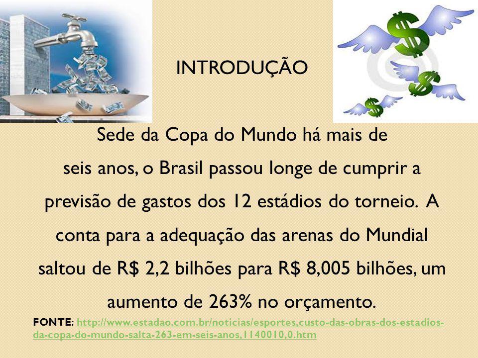 INTRODUÇÃO Sede da Copa do Mundo há mais de seis anos, o Brasil passou longe de cumprir a previsão de gastos dos 12 estádios do torneio. A conta para