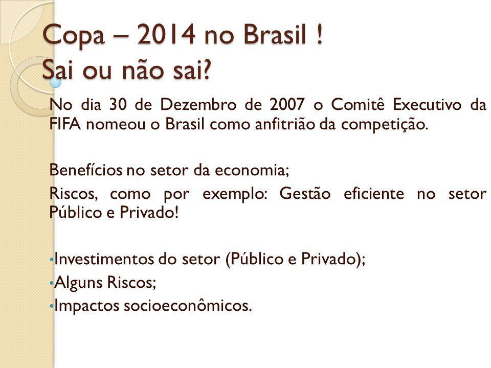 Copa – 2014 no Brasil ! Sai ou não sai? No dia 30 de Dezembro de 2007 o Comitê Executivo da FIFA nomeou o Brasil como anfitrião da competição. Benefíc