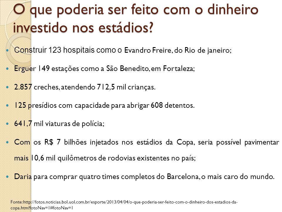 O que poderia ser feito com o dinheiro investido nos estádios? Construir 123 hospitais como o Evandro Freire, do Rio de janeiro; Erguer 149 estações c