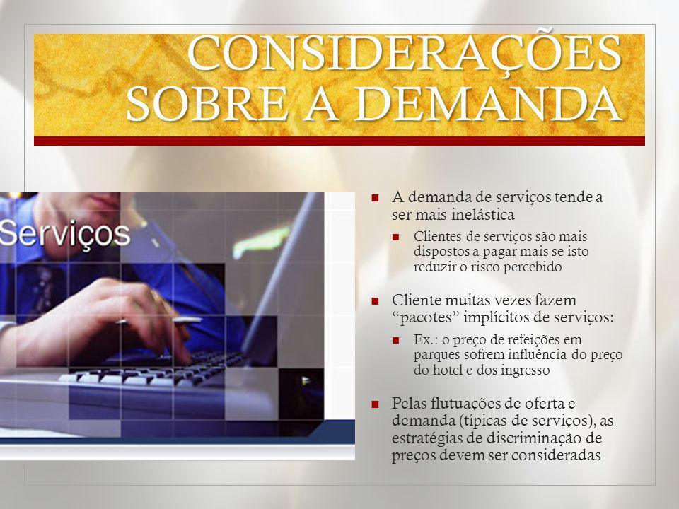 CONSIDERAÇÕES SOBRE A DEMANDA A demanda de serviços tende a ser mais inelástica Clientes de serviços são mais dispostos a pagar mais se isto reduzir o