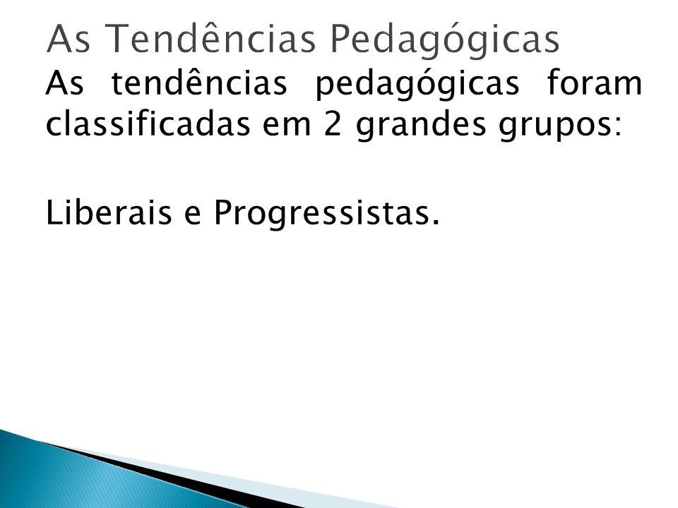 As tendências pedagógicas foram classificadas em 2 grandes grupos: Liberais e Progressistas.