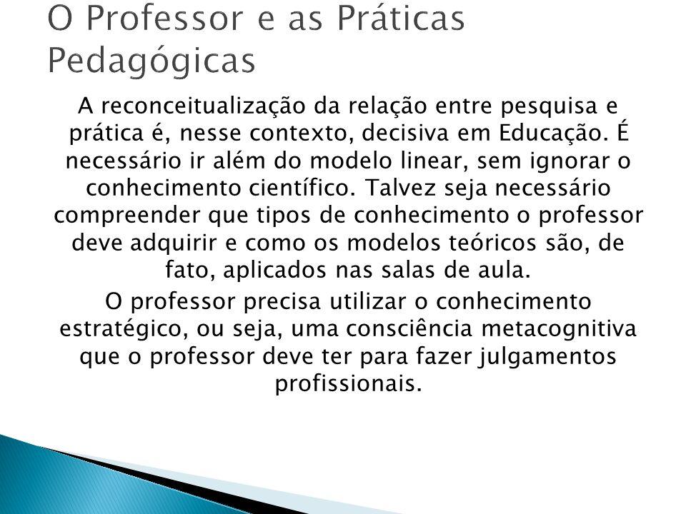 A reconceitualização da relação entre pesquisa e prática é, nesse contexto, decisiva em Educação.
