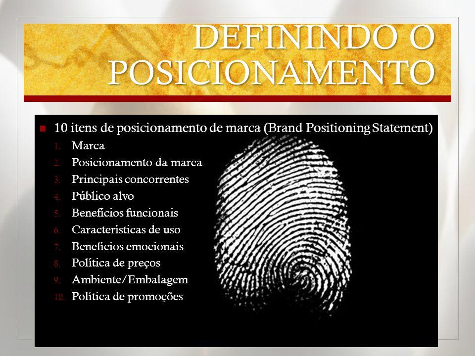 DEFININDO O POSICIONAMENTO 10 itens de posicionamento de marca (Brand Positioning Statement) 1.