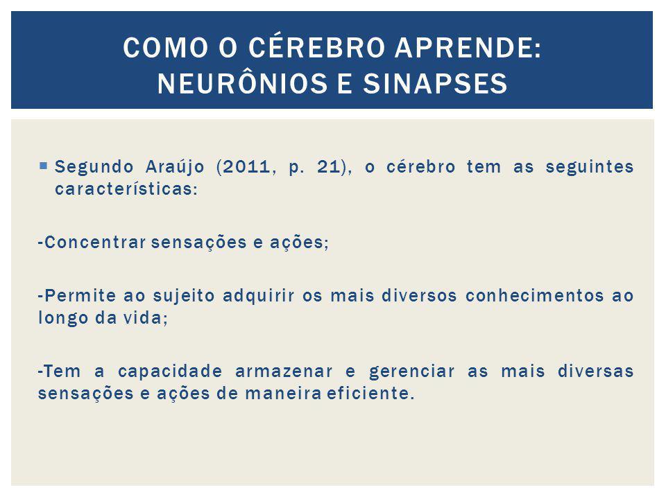 Segundo Araújo (2011, p. 21), o cérebro tem as seguintes características: -Concentrar sensações e ações; -Permite ao sujeito adquirir os mais diversos