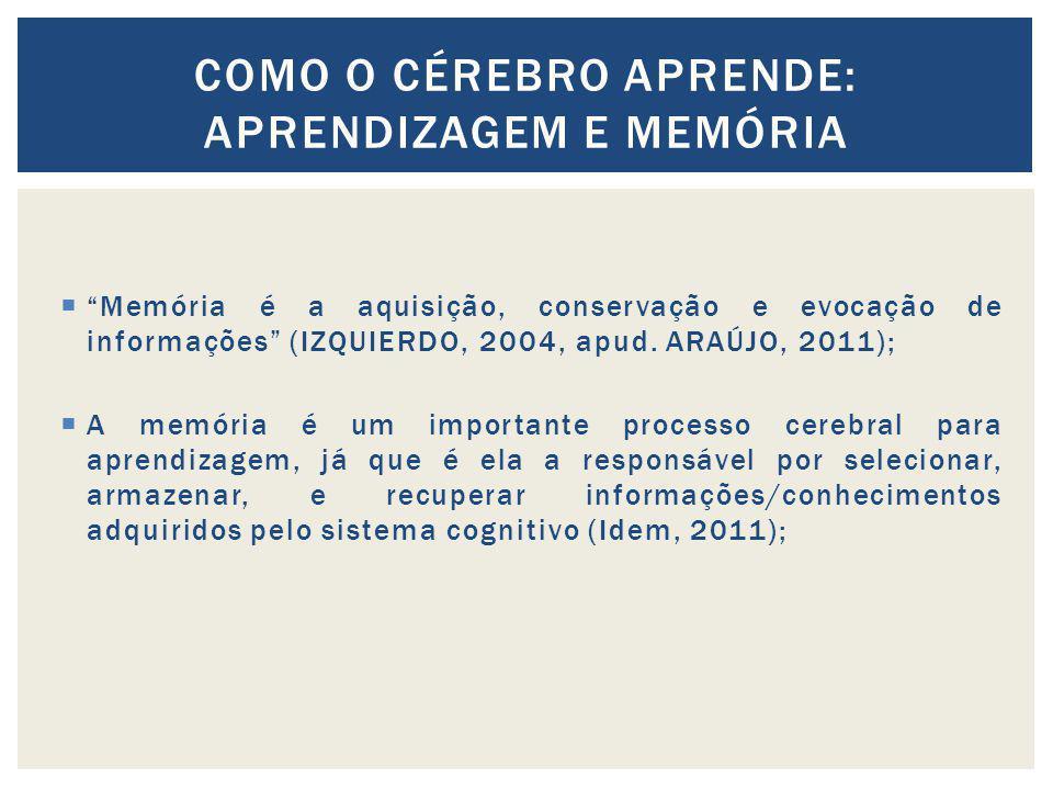 Memória é a aquisição, conservação e evocação de informações (IZQUIERDO, 2004, apud. ARAÚJO, 2011); A memória é um importante processo cerebral para a