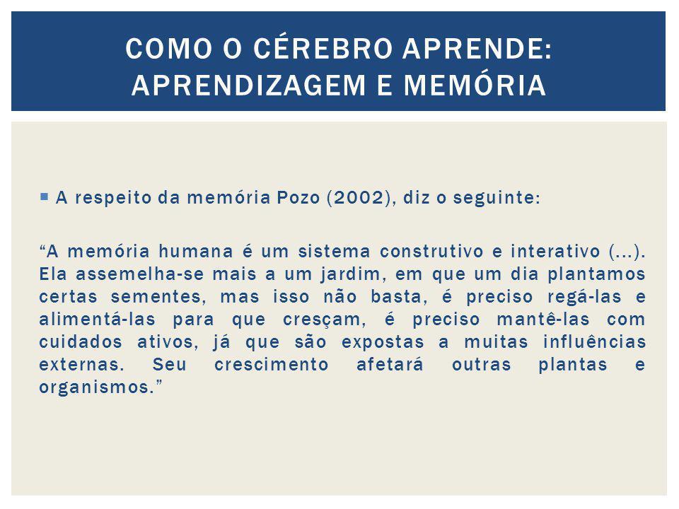 A respeito da memória Pozo (2002), diz o seguinte: A memória humana é um sistema construtivo e interativo (...). Ela assemelha-se mais a um jardim, em