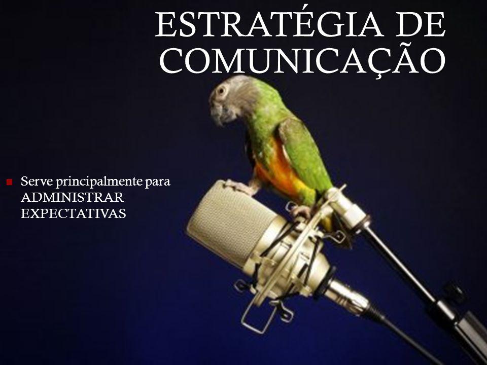 ESTRATÉGIA DE COMUNICAÇÃO Serve principalmente para ADMINISTRAR EXPECTATIVAS