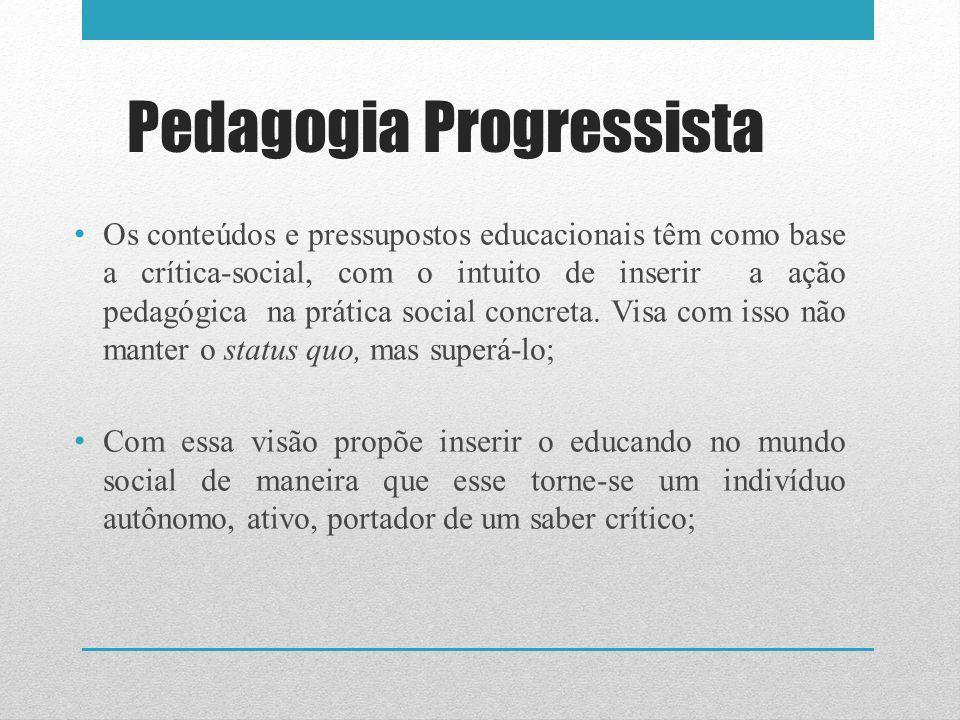 Pedagogia Progressista Os conteúdos e pressupostos educacionais têm como base a crítica-social, com o intuito de inserir a ação pedagógica na prática