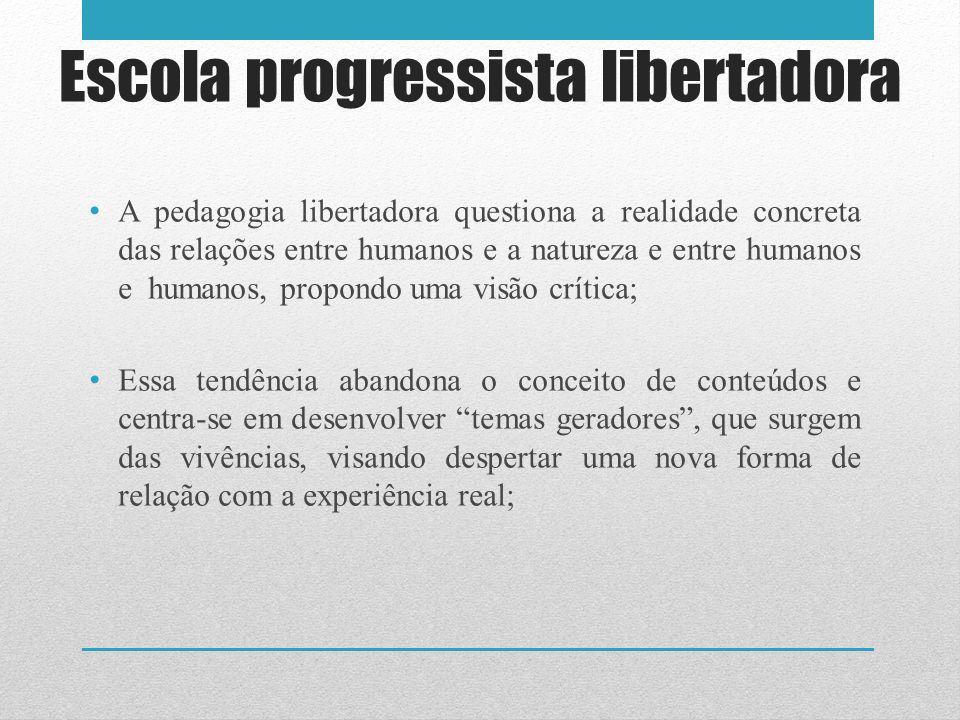 A pedagogia libertadora questiona a realidade concreta das relações entre humanos e a natureza e entre humanos e humanos, propondo uma visão crítica;