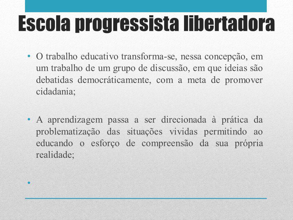 O trabalho educativo transforma-se, nessa concepção, em um trabalho de um grupo de discussão, em que ideias são debatidas democráticamente, com a meta