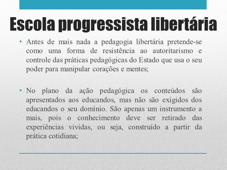 Antes de mais nada a pedagogia libertária pretende-se como uma forma de resistência ao autoritarismo e controle das práticas pedagógicas do Estado que