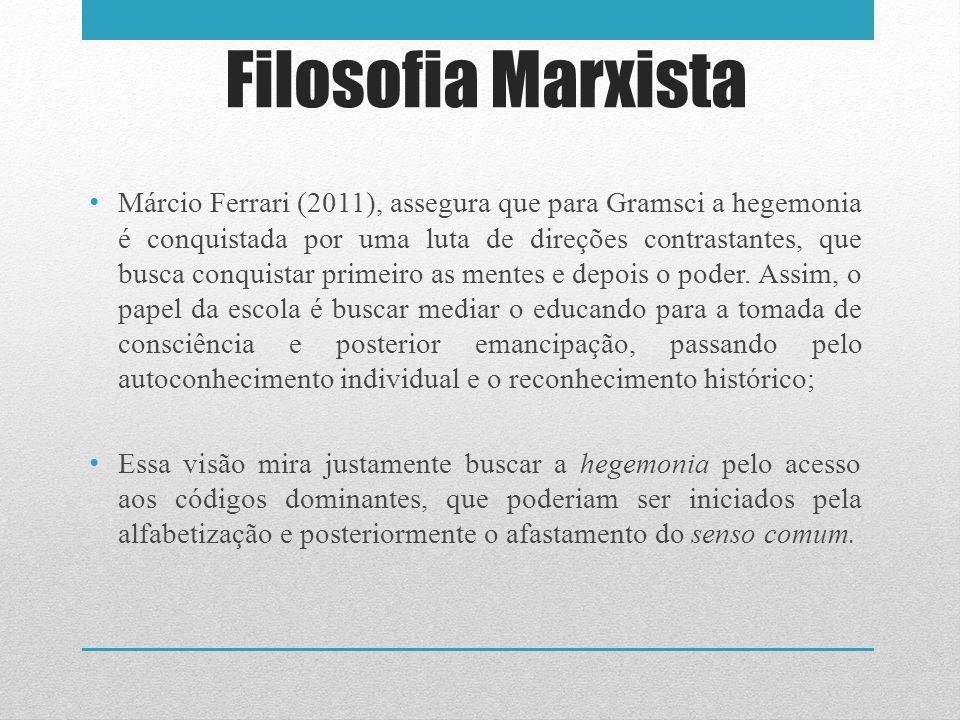 Filosofia Marxista Márcio Ferrari (2011), assegura que para Gramsci a hegemonia é conquistada por uma luta de direções contrastantes, que busca conquistar primeiro as mentes e depois o poder.