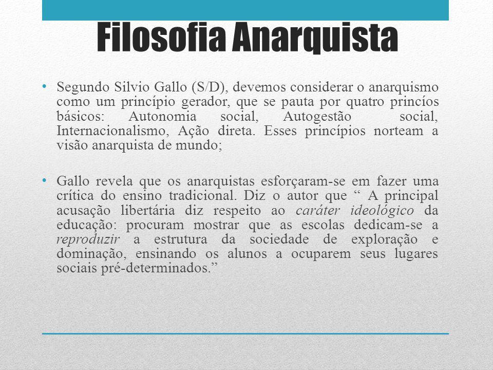 Filosofia Anarquista Segundo Silvio Gallo (S/D), devemos considerar o anarquismo como um princípio gerador, que se pauta por quatro princíos básicos: Autonomia social, Autogestão social, Internacionalismo, Ação direta.