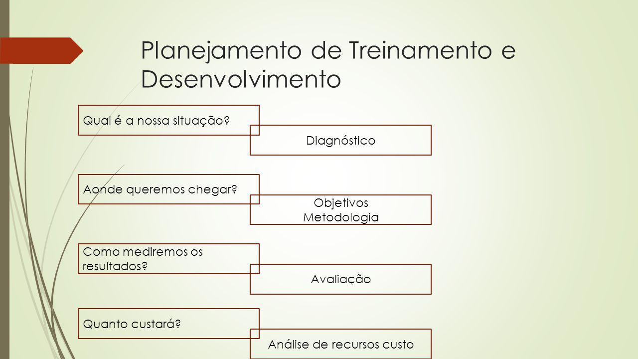 Planejamento de Treinamento e Desenvolvimento Qual é a nossa situação? Como mediremos os resultados? Aonde queremos chegar? Diagnóstico Objetivos Meto