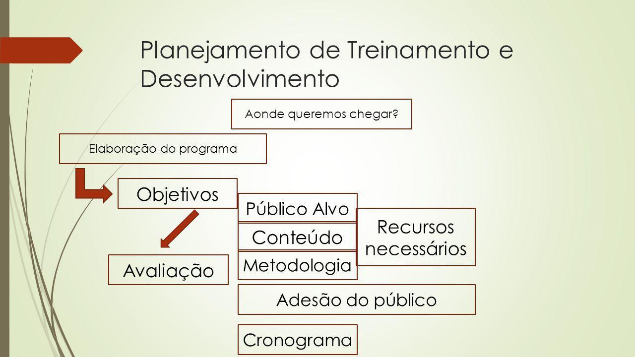 Planejamento de Treinamento e Desenvolvimento Aonde queremos chegar? Objetivos Público Alvo Conteúdo Adesão do público Recursos necessários Metodologi