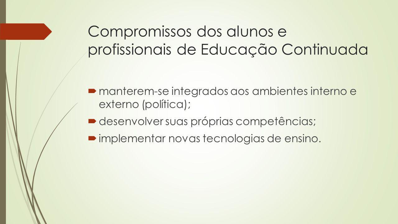 Compromissos dos alunos e profissionais de Educação Continuada manterem-se integrados aos ambientes interno e externo (política); desenvolver suas pró