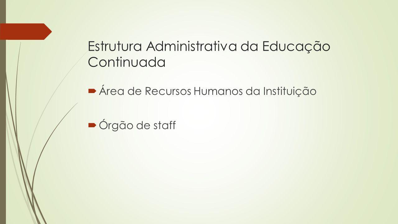Estrutura Administrativa da Educação Continuada Área de Recursos Humanos da Instituição Órgão de staff