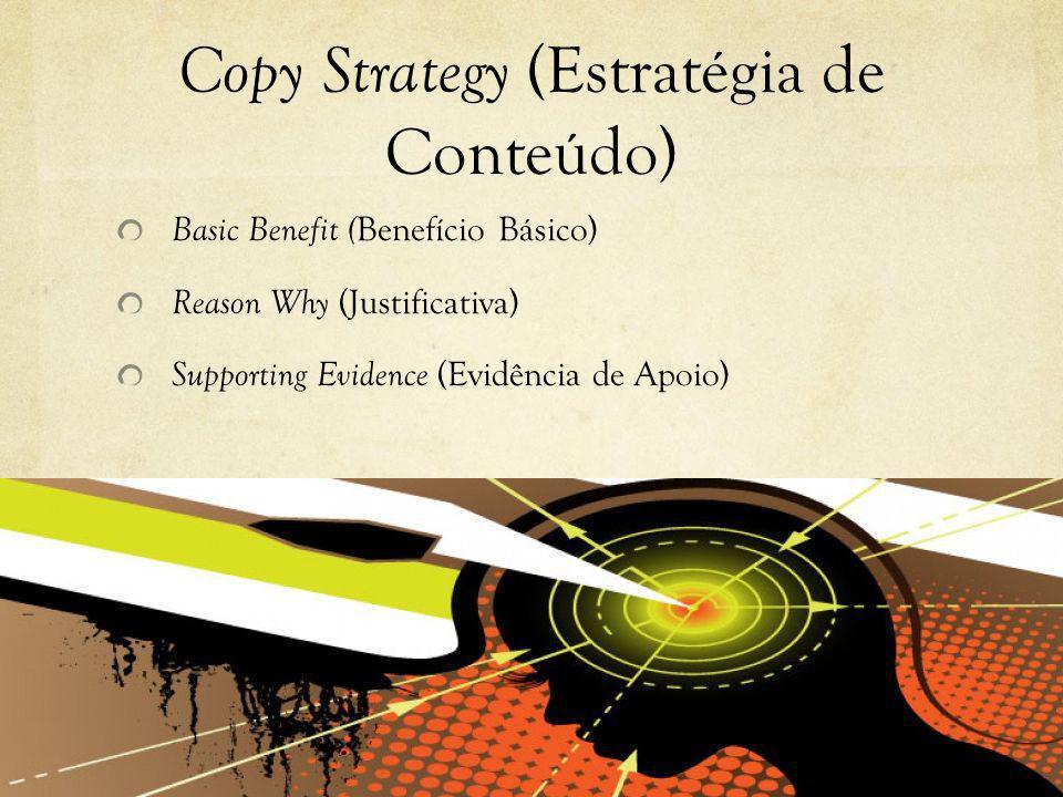 Copy Strategy (Estratégia de Conteúdo) Basic Benefit ( Benefício Básico) Reason Why (Justificativa) Supporting Evidence (Evidência de Apoio)