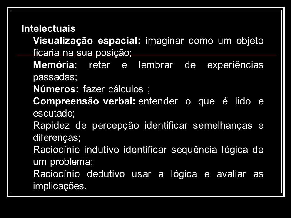 Intelectuais Visualização espacial: imaginar como um objeto ficaria na sua posição; Memória: reter e lembrar de experiências passadas; Números: fazer cálculos ; Compreensão verbal:entender o que é lido e escutado; Rapidez de percepção identificar semelhanças e diferenças; Raciocínio indutivo identificar sequência lógica de um problema; Raciocínio dedutivo usar a lógica e avaliar as implicações.