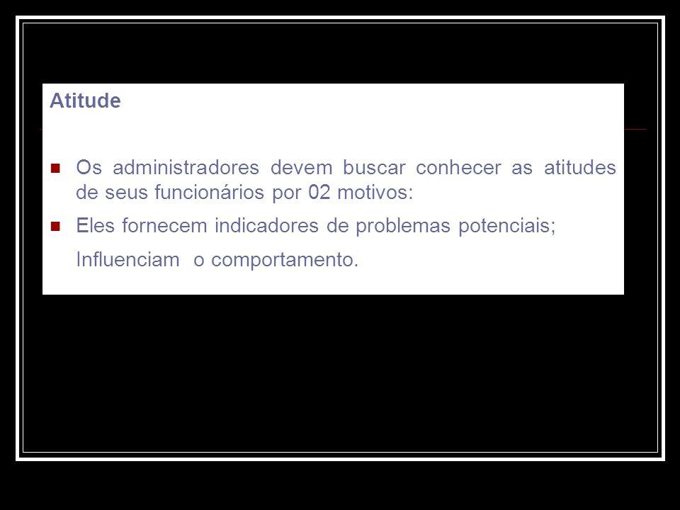 Atitude Os administradores devem buscar conhecer as atitudes de seus funcionários por 02 motivos: Eles fornecem indicadores de problemas potenciais; Influenciam o comportamento.