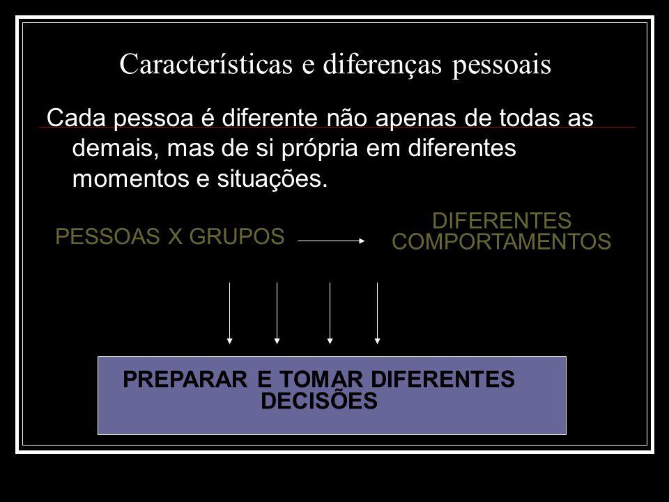 Características e diferenças pessoais Cada pessoa é diferente não apenas de todas as demais, mas de si própria em diferentes momentos e situações.