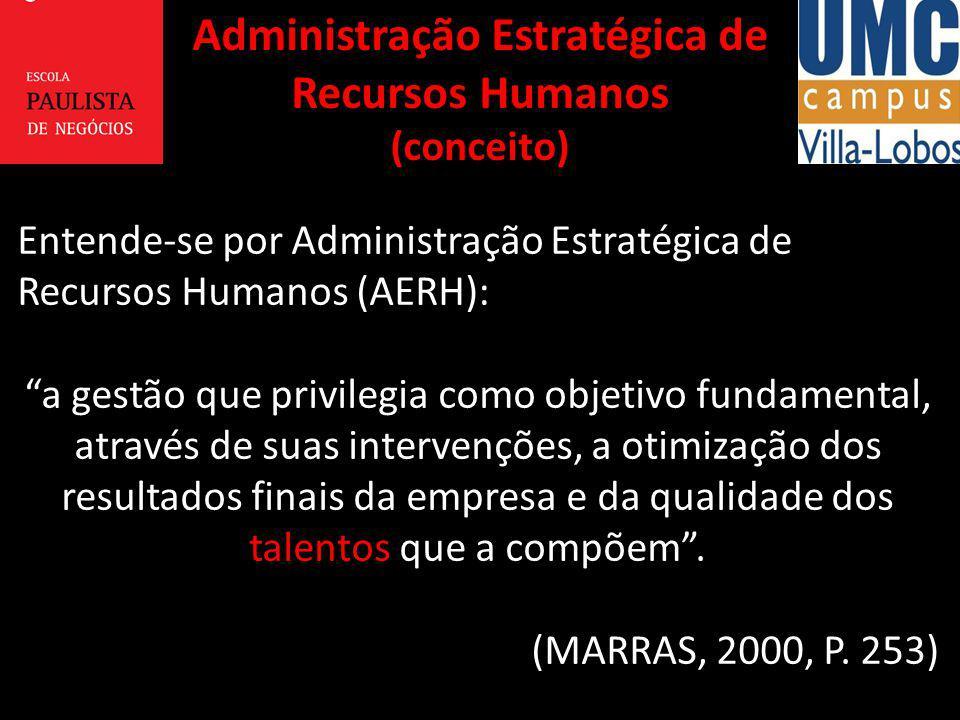 Entende-se por Administração Estratégica de Recursos Humanos (AERH): a gestão que privilegia como objetivo fundamental, através de suas intervenções,