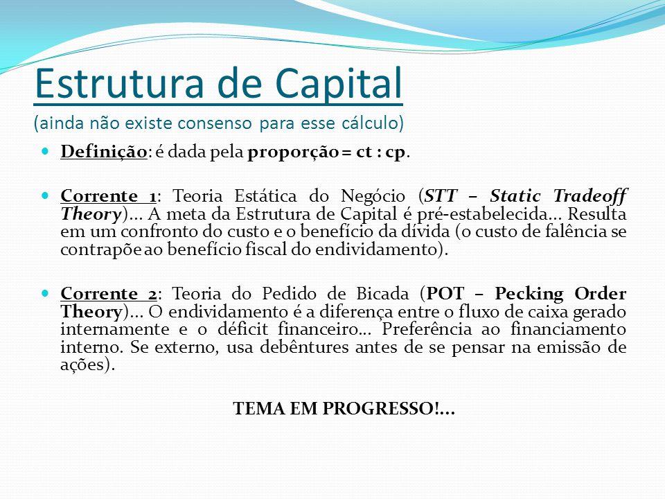 Estrutura de Capital (ainda não existe consenso para esse cálculo) Definição: é dada pela proporção = ct : cp. Corrente 1: Teoria Estática do Negócio