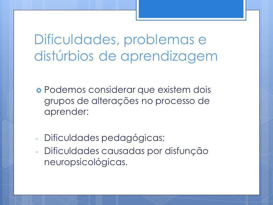 Dificuldades, problemas e distúrbios de aprendizagem Podemos considerar que existem dois grupos de alterações no processo de aprender: - Dificuldades