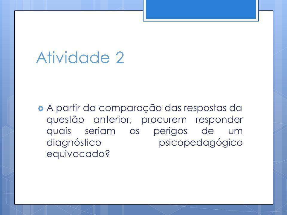 Atividade 2 A partir da comparação das respostas da questão anterior, procurem responder quais seriam os perigos de um diagnóstico psicopedagógico equ