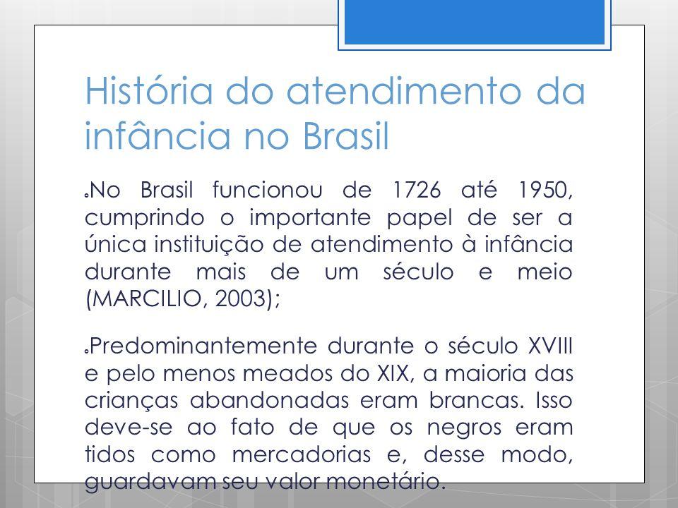 História do atendimento da infância no Brasil No Brasil funcionou de 1726 até 1950, cumprindo o importante papel de ser a única instituição de atendim