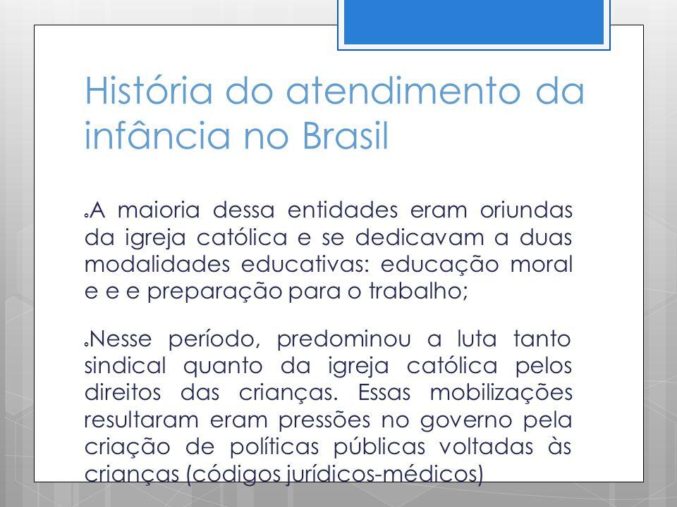 História do atendimento da infância no Brasil A maioria dessa entidades eram oriundas da igreja católica e se dedicavam a duas modalidades educativas: