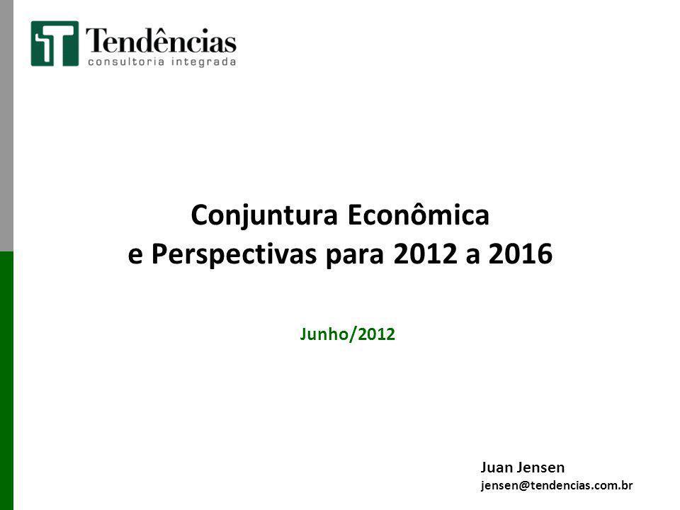 Conjuntura Econômica e Perspectivas para 2012 a 2016 Junho/2012 Juan Jensen jensen@tendencias.com.br