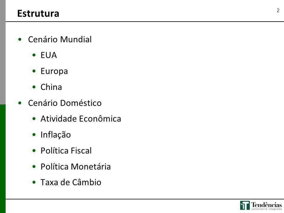 2 Cenário Mundial EUA Europa China Cenário Doméstico Atividade Econômica Inflação Política Fiscal Política Monetária Taxa de Câmbio Estrutura