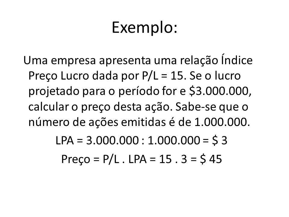 Exemplo: Uma empresa apresenta uma relação Índice Preço Lucro dada por P/L = 15. Se o lucro projetado para o período for e $3.000.000, calcular o preç