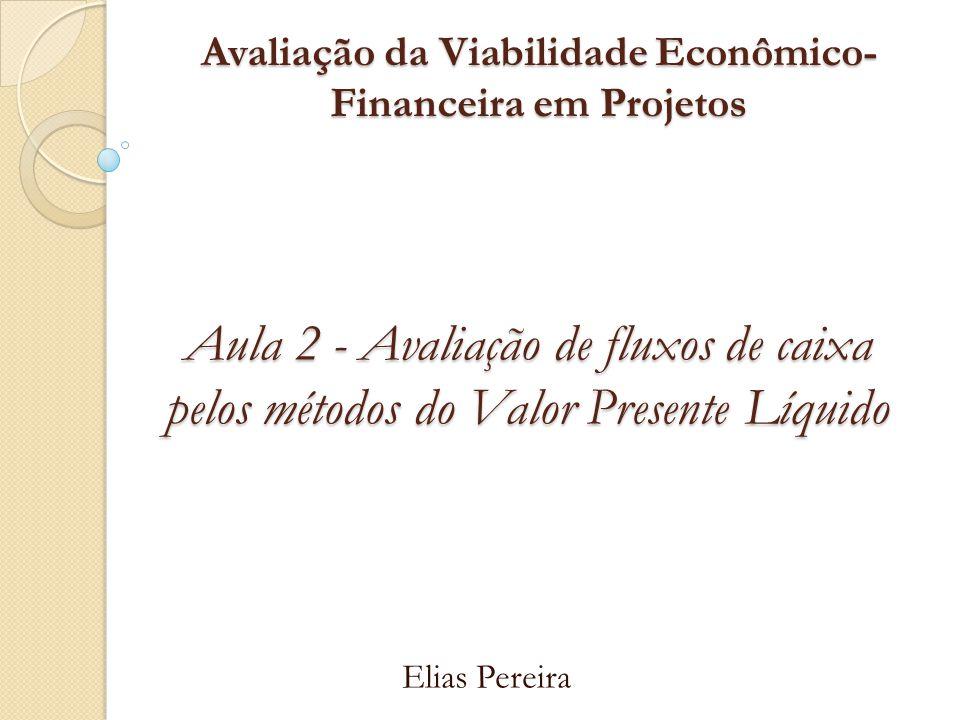 Avaliação da Viabilidade Econômico- Financeira em Projetos Ementa e Datas 30/10/2012 - Montagem de Fluxo de Caixa de Projetos.
