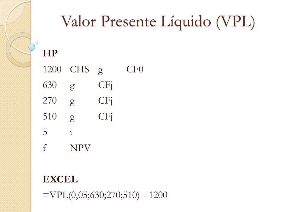 Valor Presente Líquido (VPL) HP 1200CHSgCF0 630 gCFj 270gCFj 510gCFj 5i5i fNPV EXCEL =VPL(0,05;630;270;510) - 1200