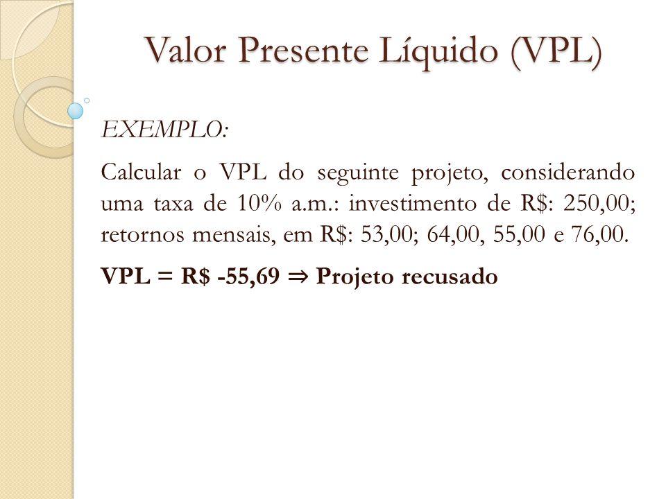 Valor Presente Líquido (VPL) EXEMPLO: Calcular o VPL do seguinte projeto, considerando uma taxa de 10% a.m.: investimento de R$: 250,00; retornos mens