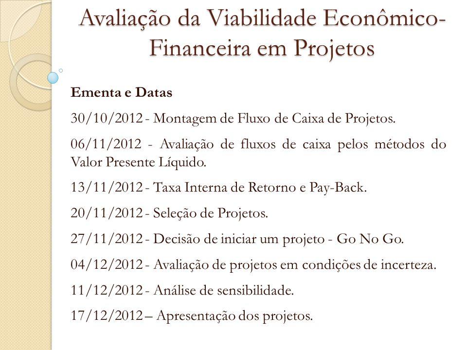 Valor Presente Líquido (VPL) Critérios de Aceitação Se VPL > 0: o projeto deve ser ACEITO; Se VPL < 0: o projeto deve ser RECUSADO; Se VPL = 0: o projeto NÃO OFERECE GANHO NEM PREJUÍZO.