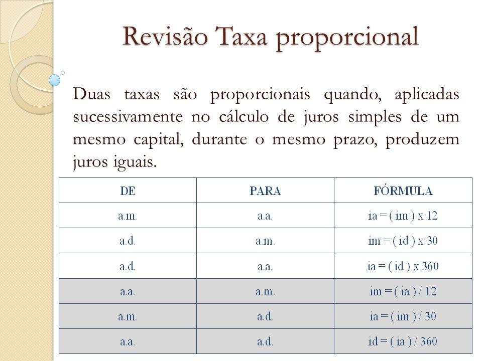 Revisão Taxa proporcional Duas taxas são proporcionais quando, aplicadas sucessivamente no cálculo de juros simples de um mesmo capital, durante o mes