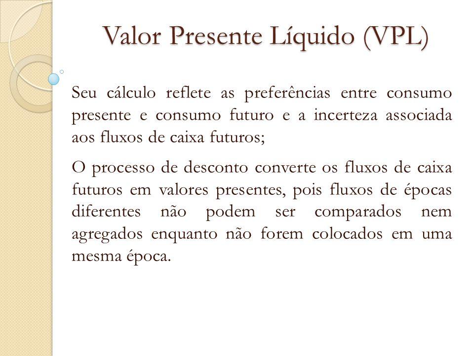 Valor Presente Líquido (VPL) Seu cálculo reflete as preferências entre consumo presente e consumo futuro e a incerteza associada aos fluxos de caixa f