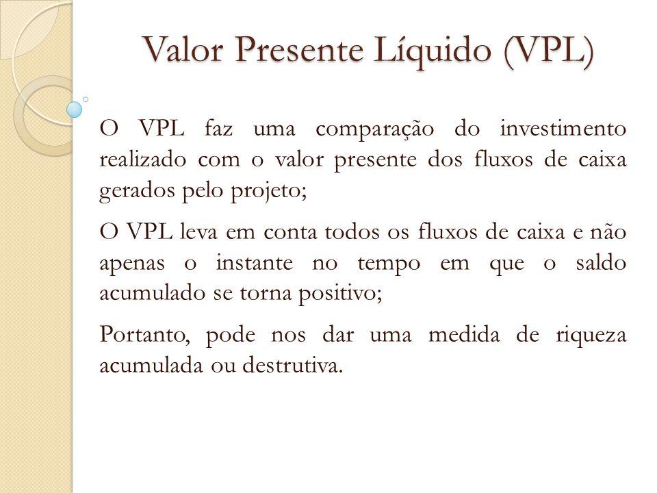 Valor Presente Líquido (VPL) O VPL faz uma comparação do investimento realizado com o valor presente dos fluxos de caixa gerados pelo projeto; O VPL l