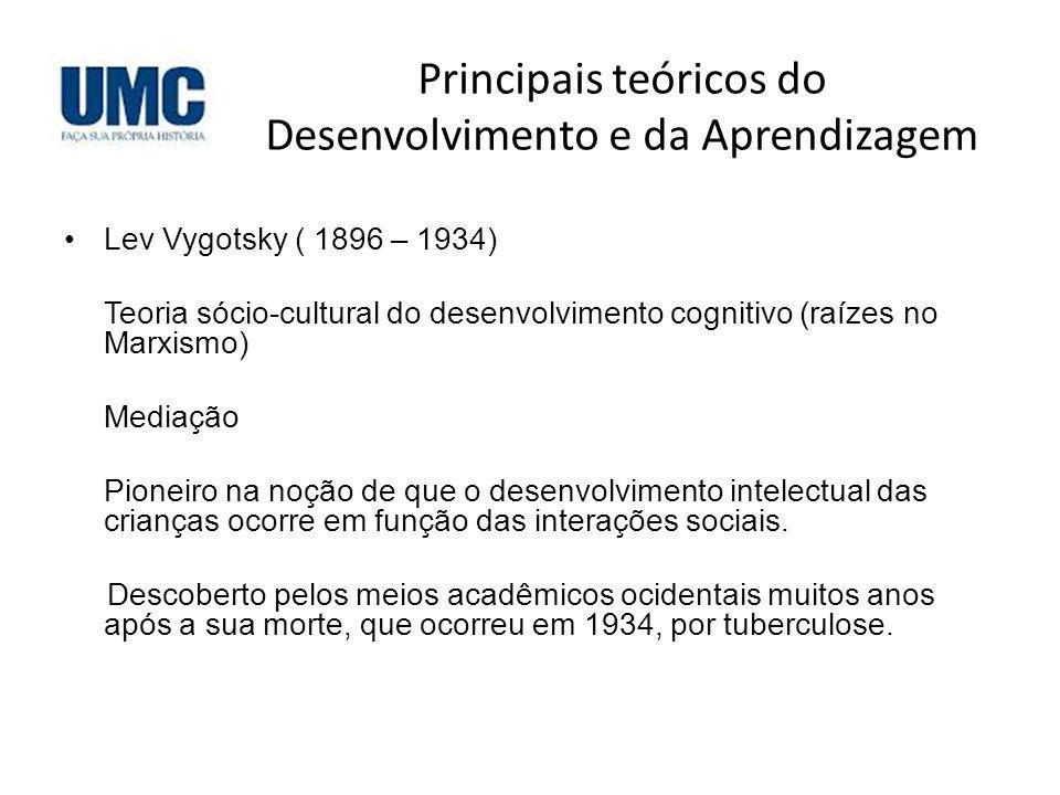 Principais teóricos do Desenvolvimento e da Aprendizagem Lev Vygotsky ( 1896 – 1934) Teoria sócio-cultural do desenvolvimento cognitivo (raízes no Mar