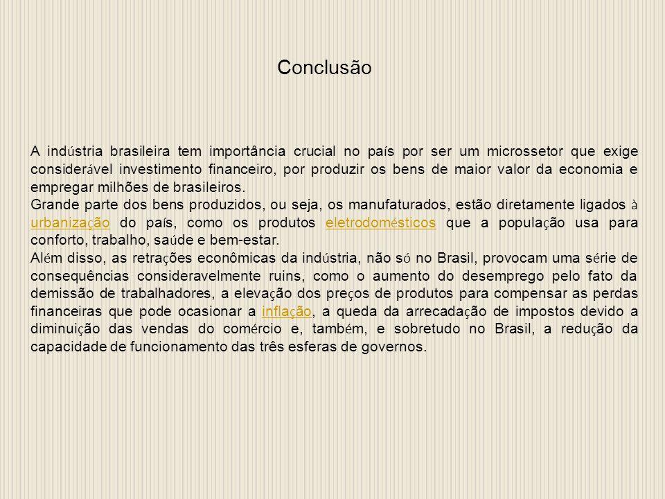 Conclusão A ind ú stria brasileira tem importância crucial no pa í s por ser um microssetor que exige consider á vel investimento financeiro, por produzir os bens de maior valor da economia e empregar milhões de brasileiros.