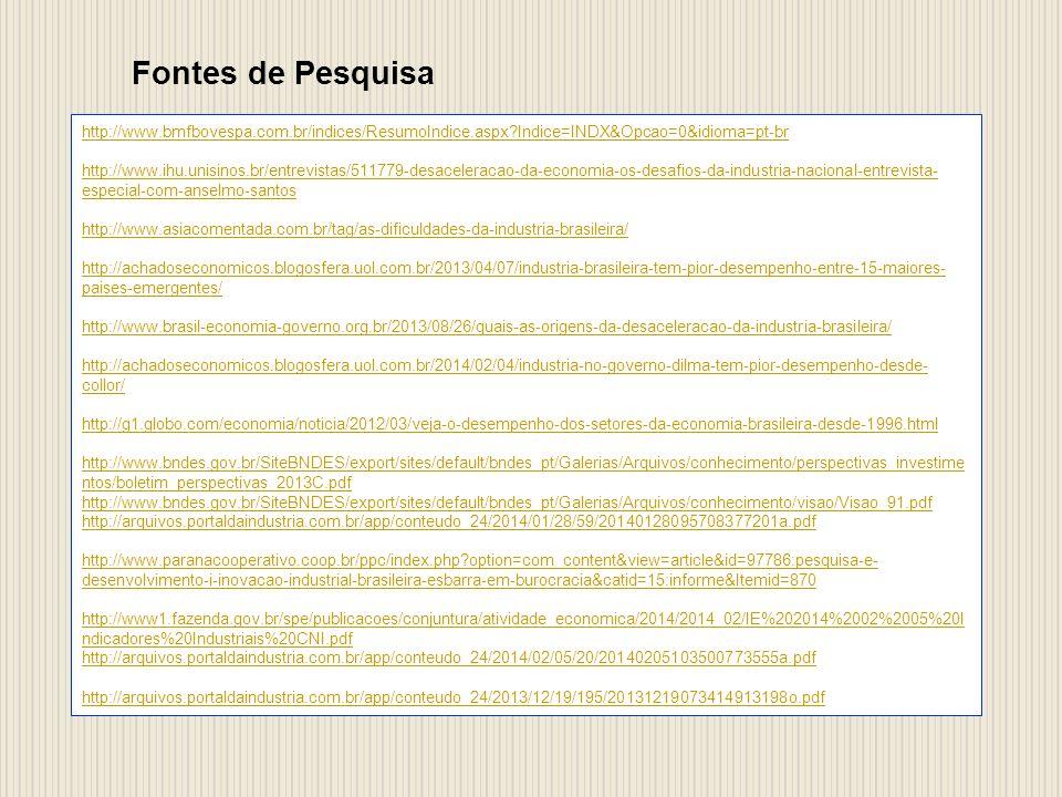 Fontes de Pesquisa http://www.bmfbovespa.com.br/indices/ResumoIndice.aspx?Indice=INDX&Opcao=0&idioma=pt-br http://www.ihu.unisinos.br/entrevistas/511779-desaceleracao-da-economia-os-desafios-da-industria-nacional-entrevista- especial-com-anselmo-santos http://www.asiacomentada.com.br/tag/as-dificuldades-da-industria-brasileira/ http://achadoseconomicos.blogosfera.uol.com.br/2013/04/07/industria-brasileira-tem-pior-desempenho-entre-15-maiores- paises-emergentes/ http://www.brasil-economia-governo.org.br/2013/08/26/quais-as-origens-da-desaceleracao-da-industria-brasileira/ http://achadoseconomicos.blogosfera.uol.com.br/2014/02/04/industria-no-governo-dilma-tem-pior-desempenho-desde- collor/ http://g1.globo.com/economia/noticia/2012/03/veja-o-desempenho-dos-setores-da-economia-brasileira-desde-1996.html http://www.bndes.gov.br/SiteBNDES/export/sites/default/bndes_pt/Galerias/Arquivos/conhecimento/perspectivas_investime ntos/boletim_perspectivas_2013C.pdf http://www.bndes.gov.br/SiteBNDES/export/sites/default/bndes_pt/Galerias/Arquivos/conhecimento/visao/Visao_91.pdf http://arquivos.portaldaindustria.com.br/app/conteudo_24/2014/01/28/59/20140128095708377201a.pdf http://www.paranacooperativo.coop.br/ppc/index.php?option=com_content&view=article&id=97786:pesquisa-e- desenvolvimento-i-inovacao-industrial-brasileira-esbarra-em-burocracia&catid=15:informe&Itemid=870 http://www1.fazenda.gov.br/spe/publicacoes/conjuntura/atividade_economica/2014/2014_02/IE%202014%2002%2005%20I ndicadores%20Industriais%20CNI.pdf http://arquivos.portaldaindustria.com.br/app/conteudo_24/2014/02/05/20/20140205103500773555a.pdf http://arquivos.portaldaindustria.com.br/app/conteudo_24/2013/12/19/195/20131219073414913198o.pdf