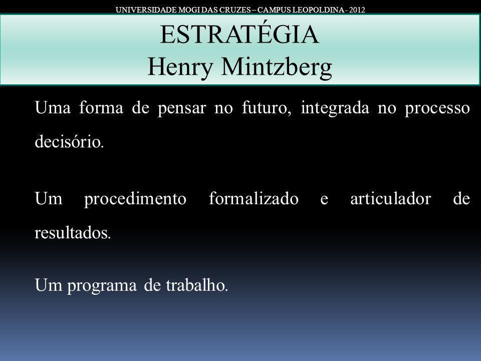 UNIVERSIDADE MOGI DAS CRUZES – CAMPUS LEOPOLDINA - 2012 ESTRATÉGIA Henry Mintzberg Uma forma de pensar no futuro, integrada no processo decisório. Um