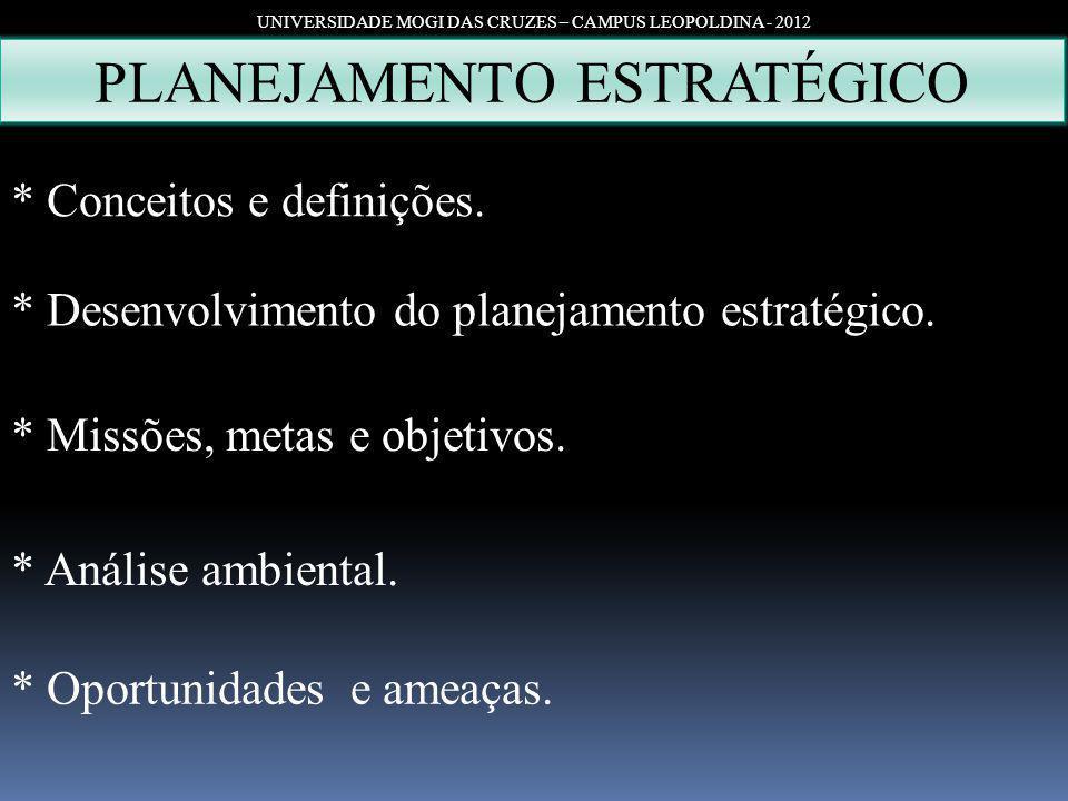 PLANEJAMENTO ESTRATÉGICO UNIVERSIDADE MOGI DAS CRUZES – CAMPUS LEOPOLDINA - 2012 * Conceitos e definições. * Desenvolvimento do planejamento estratégi