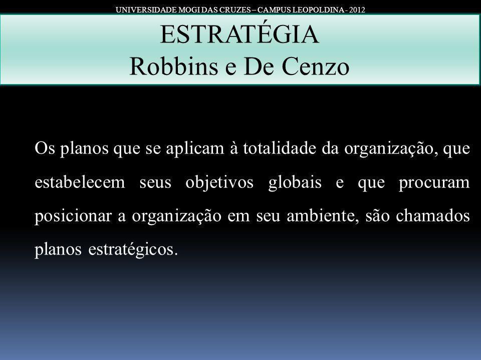 UNIVERSIDADE MOGI DAS CRUZES – CAMPUS LEOPOLDINA - 2012 ESTRATÉGIA Robbins e De Cenzo Os planos que se aplicam à totalidade da organização, que estabe