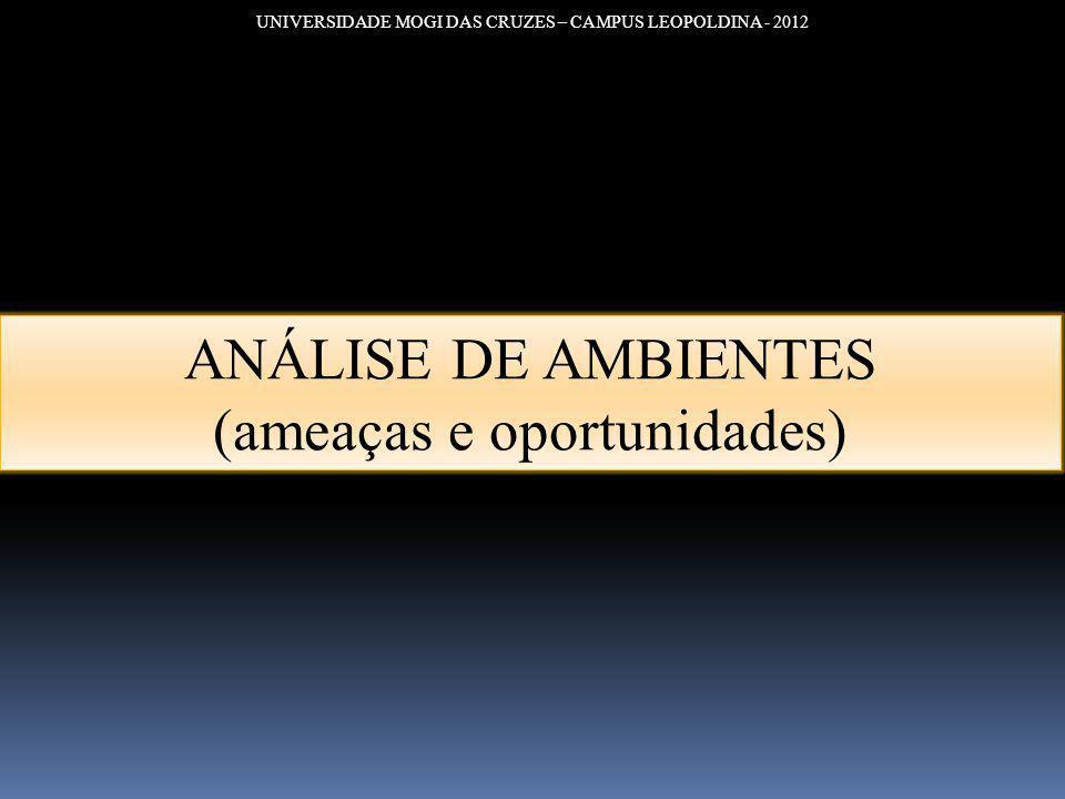 UNIVERSIDADE MOGI DAS CRUZES – CAMPUS LEOPOLDINA - 2012 ANÁLISE DE AMBIENTES (ameaças e oportunidades)
